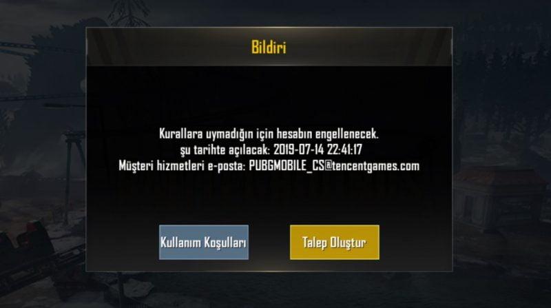 Pubg Mobile Oyundan Uzaklaştırılma Ekranı