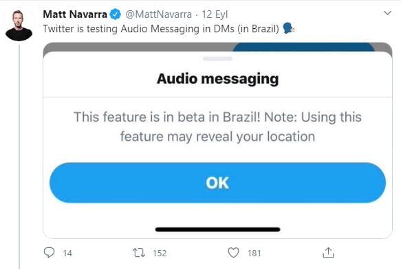 Matt Navarra twitter Sesli DM