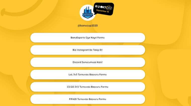 Banucup 2020 E-Spor Turnuva Kayıt Ekranı
