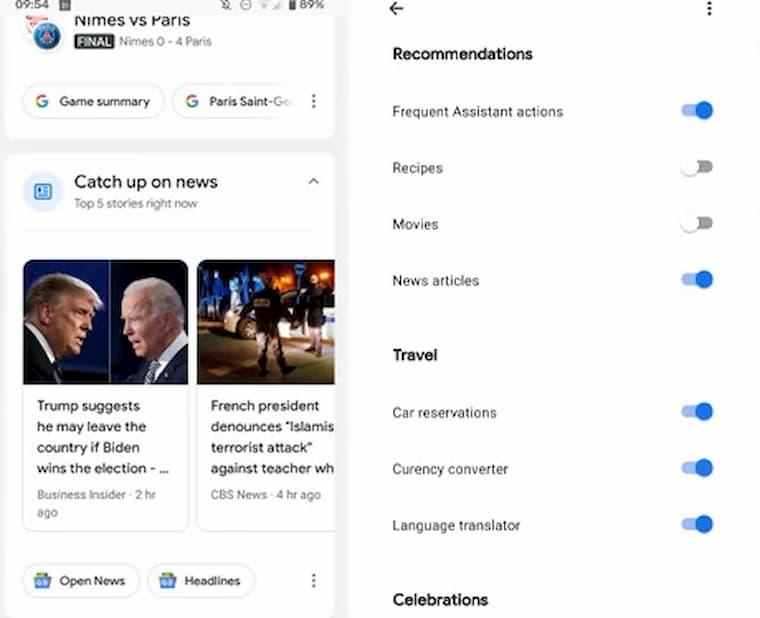 Google Asistan Haber Kartları