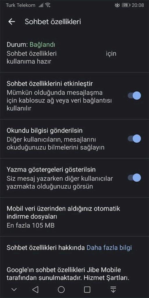 RCS Türkiye'de Etkinleştirme