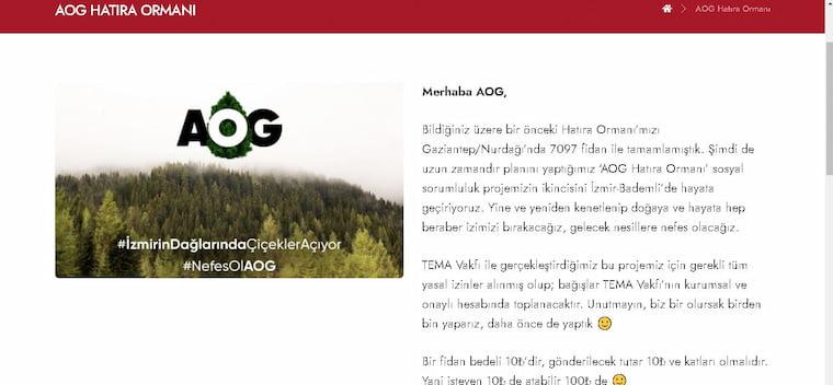 Amacı Olmayan Grup Hatıran Ormanı Oluşturuyor