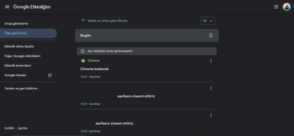 Google Etkinliğim Karanlık Mod