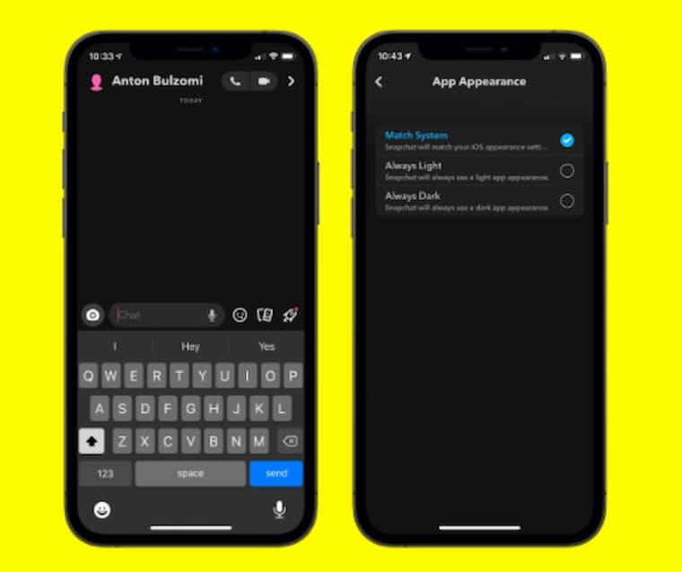 Snapchat Karanlık Mod Gösterim