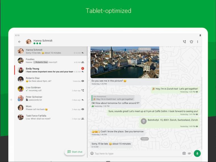 Threema Uygulaması Tablet Optimizasyonu