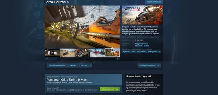 Forza Horizon 4 Steam'e Geliş Tarihi Açıklandı