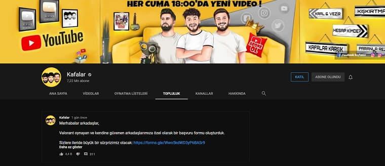 Kafalar Valorant Takımı İçin Youtube Üzerinden Paylaştıkları Duyuru