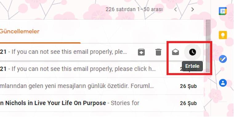 gmail e-posta iletilerinde erteleme