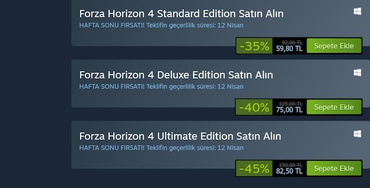 Forza Horizon 4 Steam İndirimlerine Girmiş Durumda Oyunun İndirimli Fiyatından Yararlanmak İçin Steam Sayfasını Ziyaret Etmeyi Unutmayın