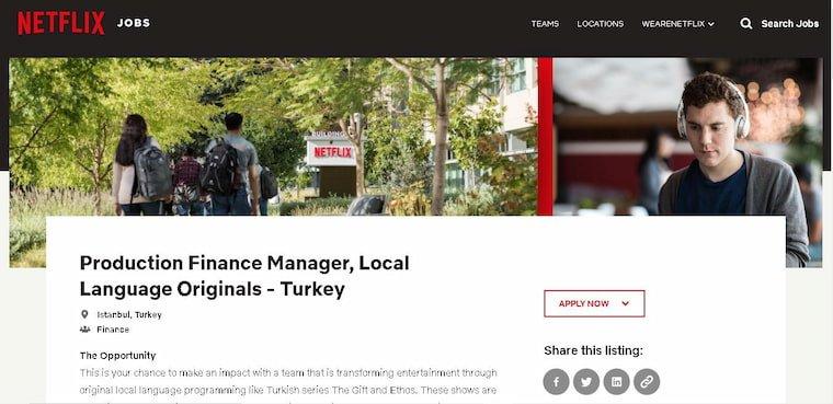 Netflix Türkiye İş İlanı Yayınladı