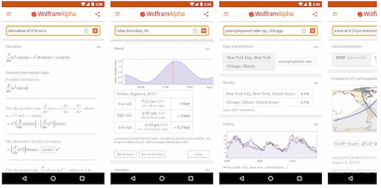 Mobile Eğitim Android Uygulama WolframAlpha
