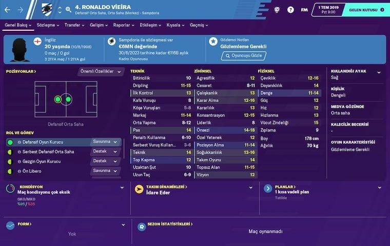 FM 2020 Wonderkids Orta Saha Ronaldo Vieira