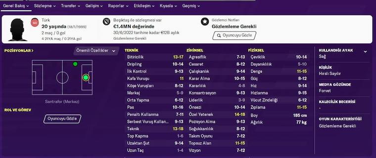 FM 2020 Türk Wonderkids Güven Yalçın