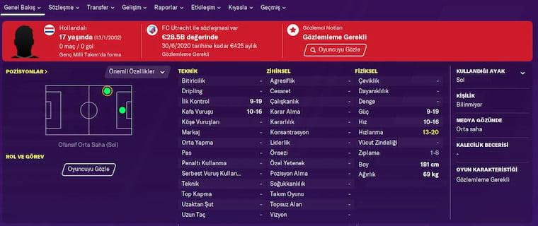 FM 2020 Wonderkids Türk Özcan Yaşar