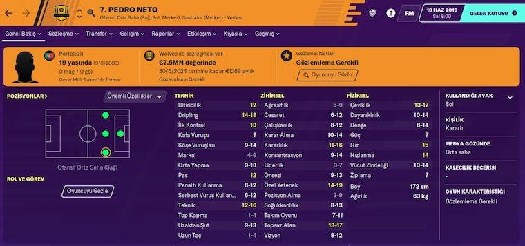 FM 2020 Wonderkids Sağ Kanat Pedro Neto