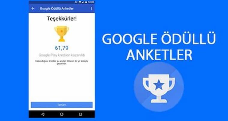 Para Kazandıran Uygulamalar Google Ödüllü Anketler